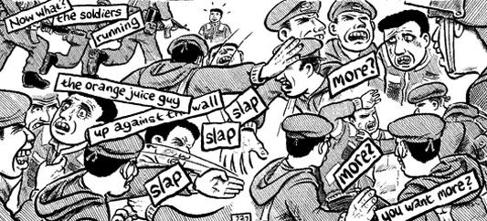 Joe Sacco retratando la brutalidad en el trato de los soldados israelíes con la población palestina. Fuente Al Jazeera.