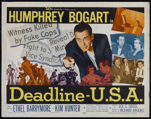 """Deadline USA (Richard Brooks, 1952): """"El periodista se convierte en el héroe de la historia; un reportero es solo un testigo"""" / """"La prensa libre, como la vida libre, está siempre en peligro"""" / """"Esta puede que no sea la profesión más antigua del mundo, pero es la mejor"""". Estos tres fragmentos del guión reflejan un trabajo en el que el director ofreció a Bogart como un periodista ético, como contrapartida a las presiones de los poderes fácticos."""