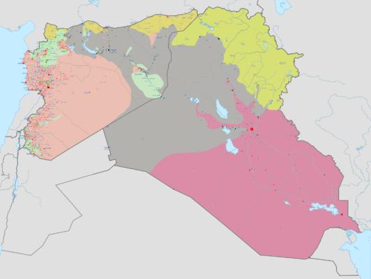 En el mapa se muestran las zonas controladas por el estado iraquí (rosa), el ISIS (gris), los kurdos (amarillo), el estado sirio (naranja) y otros rebeldes sirios (verde). Haghal Jaghul, Wikipedia.